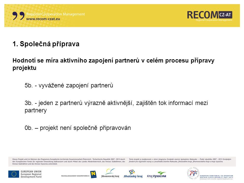 1. Společná příprava Hodnotí se míra aktivního zapojení partnerů v celém procesu přípravy projektu 5b. - vyvážené zapojení partnerů 3b. - jeden z part