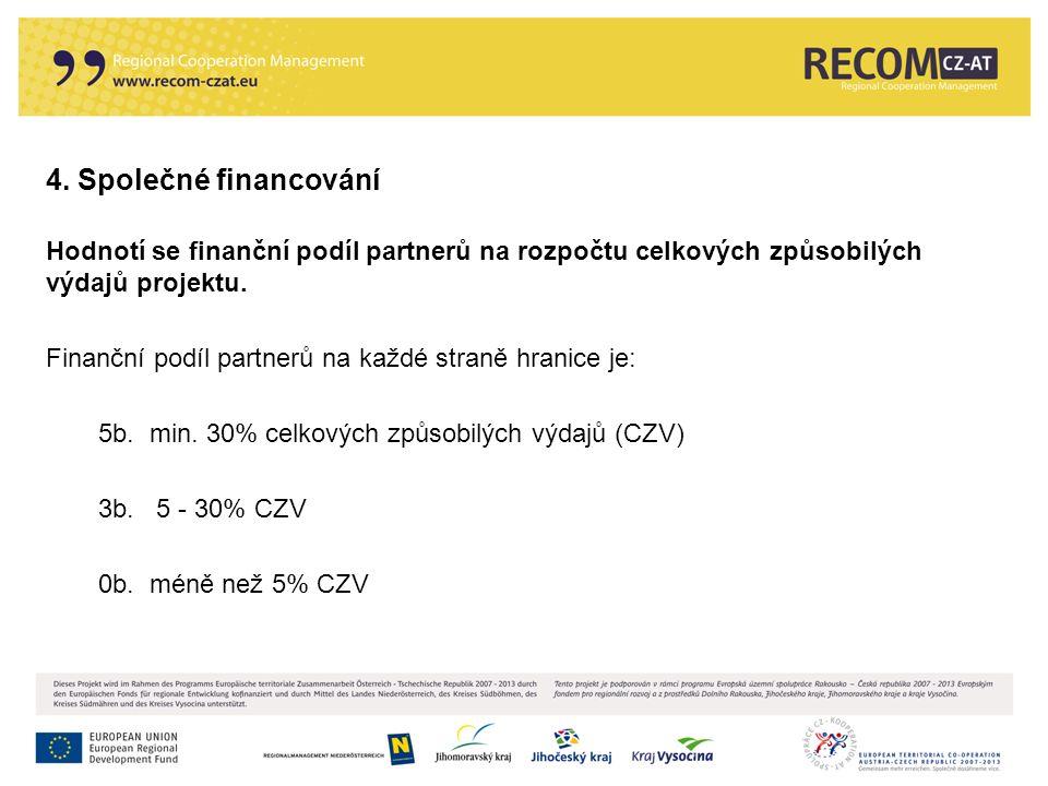 4. Společné financování Hodnotí se finanční podíl partnerů na rozpočtu celkových způsobilých výdajů projektu. Finanční podíl partnerů na každé straně