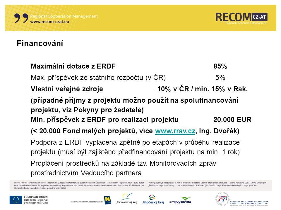 Financování Maximální dotace z ERDF85% Max. příspěvek ze státního rozpočtu (v ČR) 5% Vlastní veřejné zdroje10% v ČR / min. 15% v Rak. (případné příjmy
