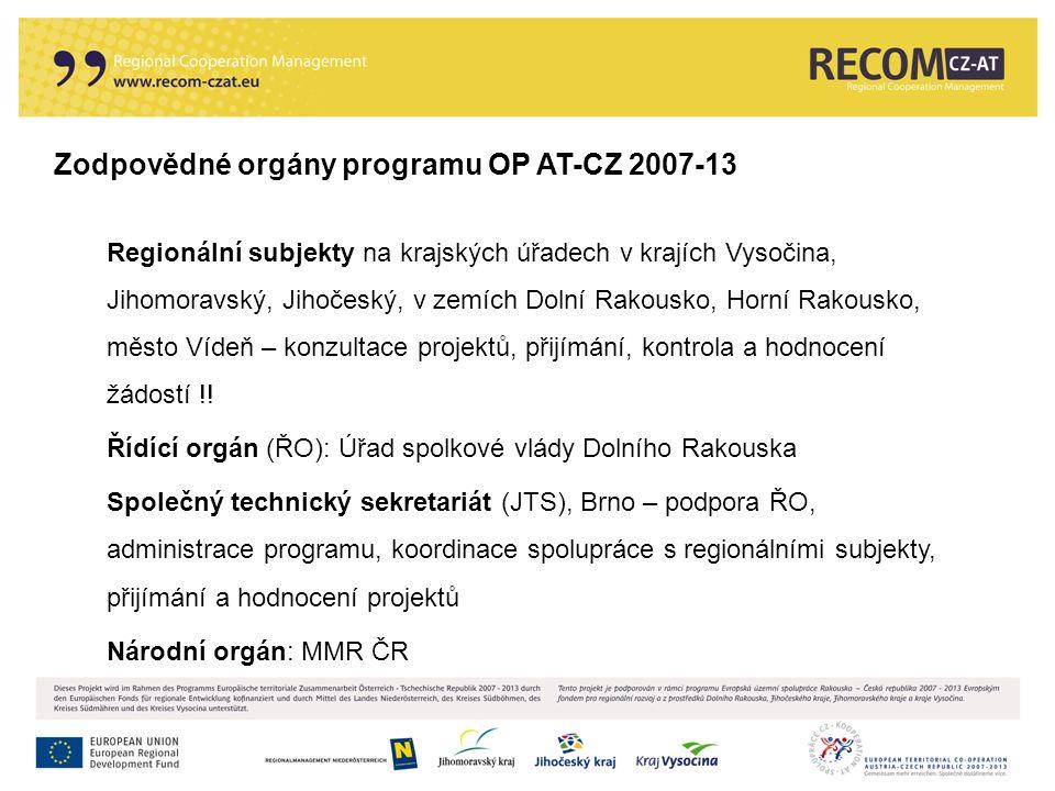 Zodpovědné orgány programu OP AT-CZ 2007-13 Regionální subjekty na krajských úřadech v krajích Vysočina, Jihomoravský, Jihočeský, v zemích Dolní Rakou