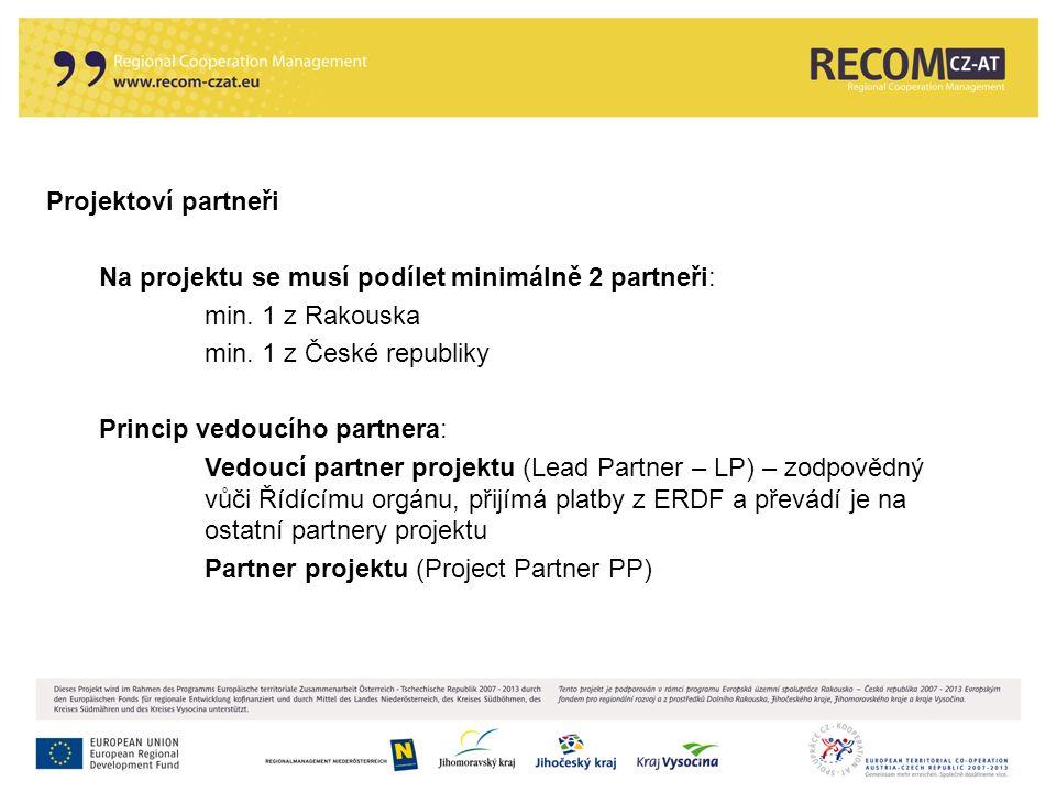 Projektoví partneři Na projektu se musí podílet minimálně 2 partneři: min. 1 z Rakouska min. 1 z České republiky Princip vedoucího partnera: Vedoucí p
