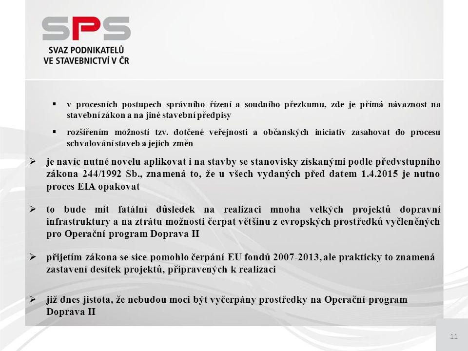 11  v procesních postupech správního řízení a soudního přezkumu, zde je přímá návaznost na stavební zákon a na jiné stavební předpisy  rozšířením možností tzv.