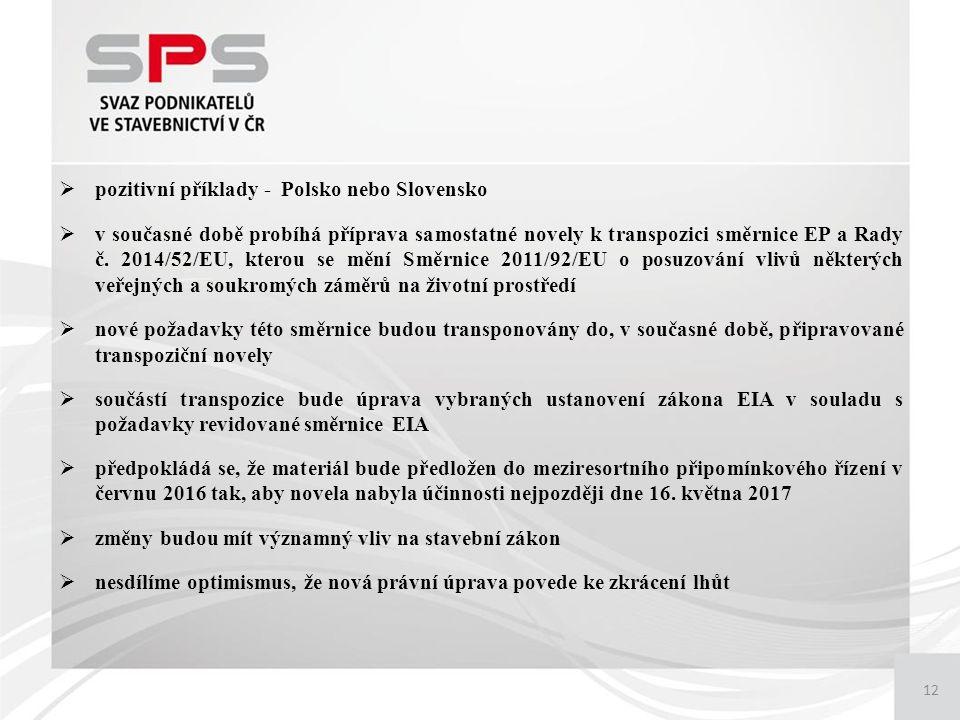 12  pozitivní příklady - Polsko nebo Slovensko  v současné době probíhá příprava samostatné novely k transpozici směrnice EP a Rady č.