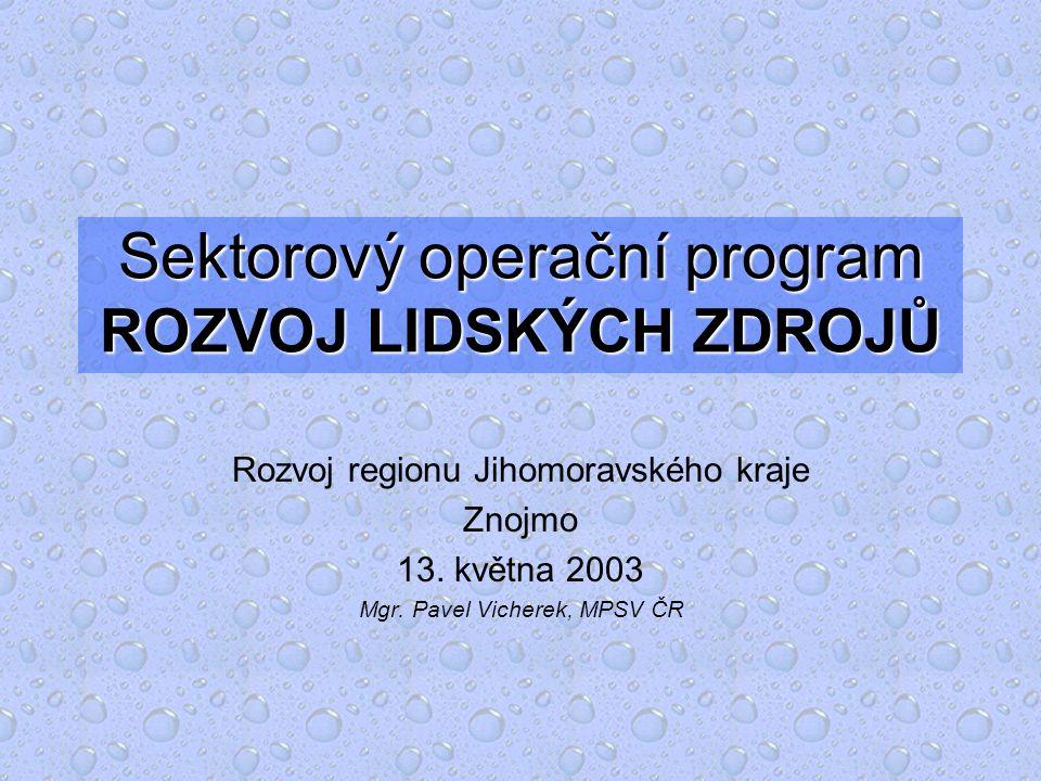 Sektorový operační program ROZVOJ LIDSKÝCH ZDROJŮ Rozvoj regionu Jihomoravského kraje Znojmo 13.