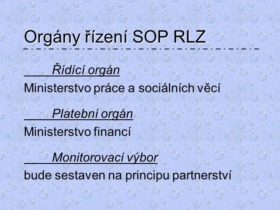 Orgány řízení SOP RLZ Řídící orgán Ministerstvo práce a sociálních věcí Platební orgán Ministerstvo financí Monitorovací výbor bude sestaven na principu partnerství