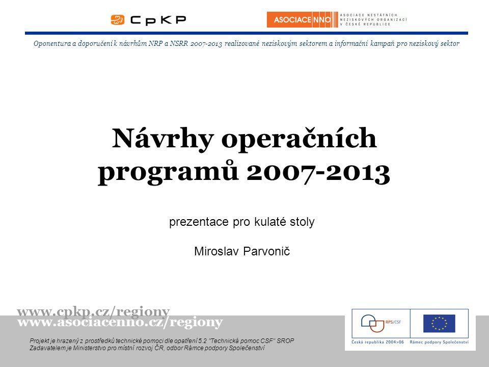 Návrhy operačních programů 2007-2013 Oponentura a doporučení k návrhům NRP a NSRR 2007-2013 realizované neziskovým sektorem a informační kampaň pro ne