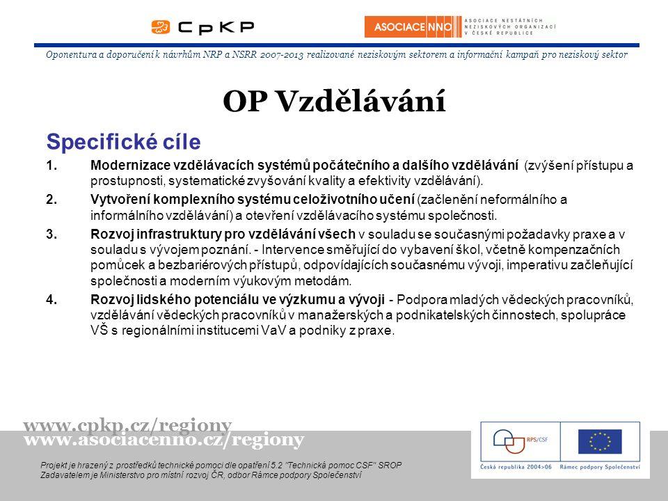 Specifické cíle 1.Modernizace vzdělávacích systémů počátečního a dalšího vzdělávání (zvýšení přístupu a prostupnosti, systematické zvyšování kvality a efektivity vzdělávání).