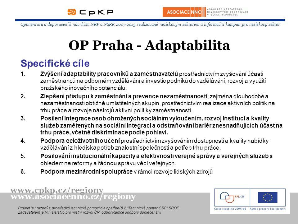 Specifické cíle 1.Zvýšení adaptability pracovníků a zaměstnavatelů prostřednictvím zvyšování účasti zaměstnanců na odborném vzdělávání a investic podn