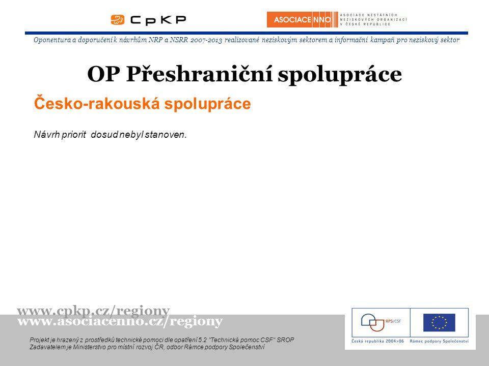 Česko-rakouská spolupráce Návrh priorit dosud nebyl stanoven. Oponentura a doporučení k návrhům NRP a NSRR 2007-2013 realizované neziskovým sektorem a