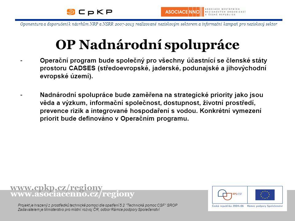 -Operační program bude společný pro všechny účastnící se členské státy prostoru CADSES (středoevropské, jaderské, podunajské a jihovýchodní evropské ú