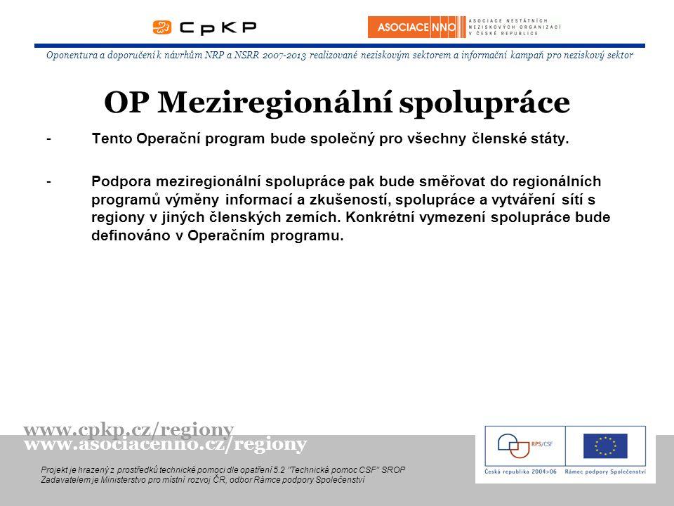 -Tento Operační program bude společný pro všechny členské státy. -Podpora meziregionální spolupráce pak bude směřovat do regionálních programů výměny