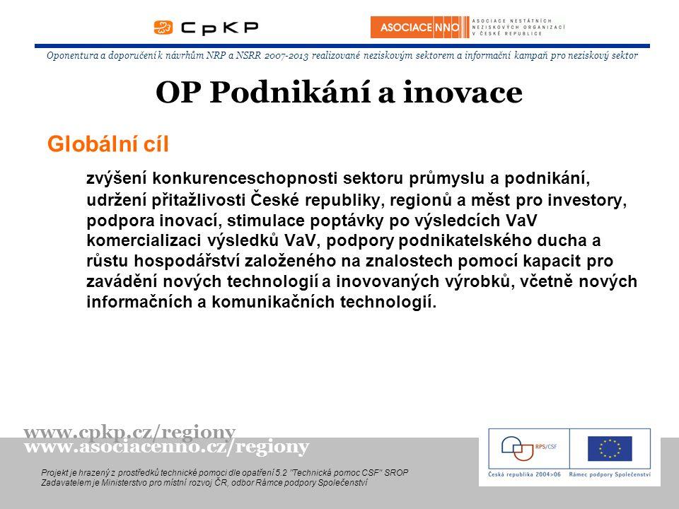 Globální cíl zvýšení konkurenceschopnosti sektoru průmyslu a podnikání, udržení přitažlivosti České republiky, regionů a měst pro investory, podpora inovací, stimulace poptávky po výsledcích VaV komercializaci výsledků VaV, podpory podnikatelského ducha a růstu hospodářství založeného na znalostech pomocí kapacit pro zavádění nových technologií a inovovaných výrobků, včetně nových informačních a komunikačních technologií.