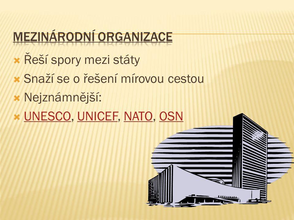  Řeší spory mezi státy  Snaží se o řešení mírovou cestou  Nejznámnější:  UNESCO, UNICEF, NATO, OSN UNESCOUNICEFNATOOSN