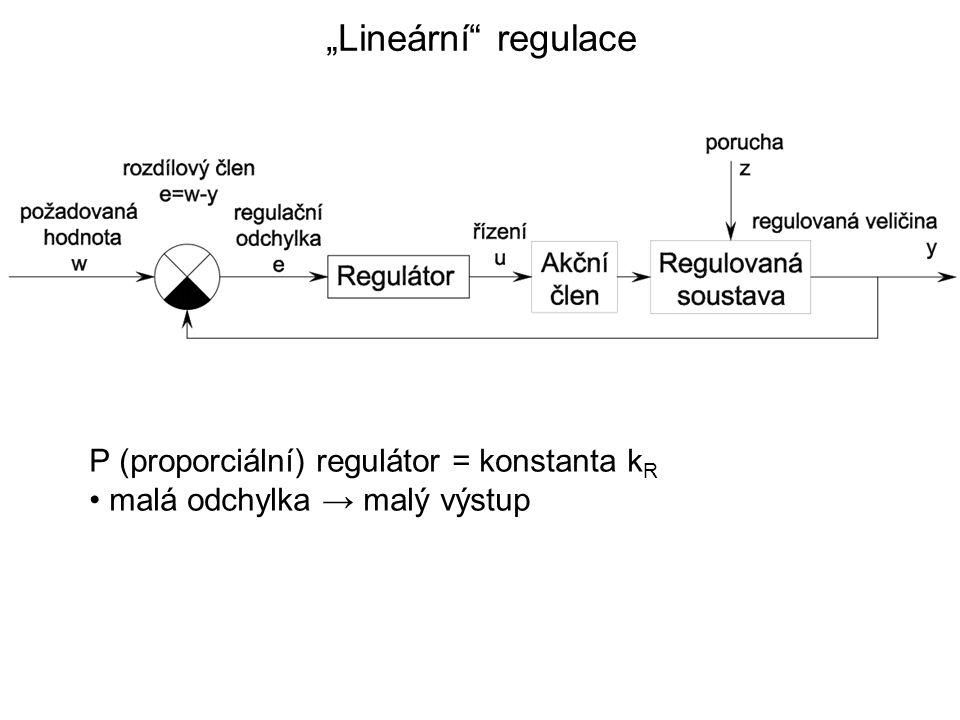 """""""Lineární regulace P (proporciální) regulátor = konstanta k R malá odchylka → malý výstup"""