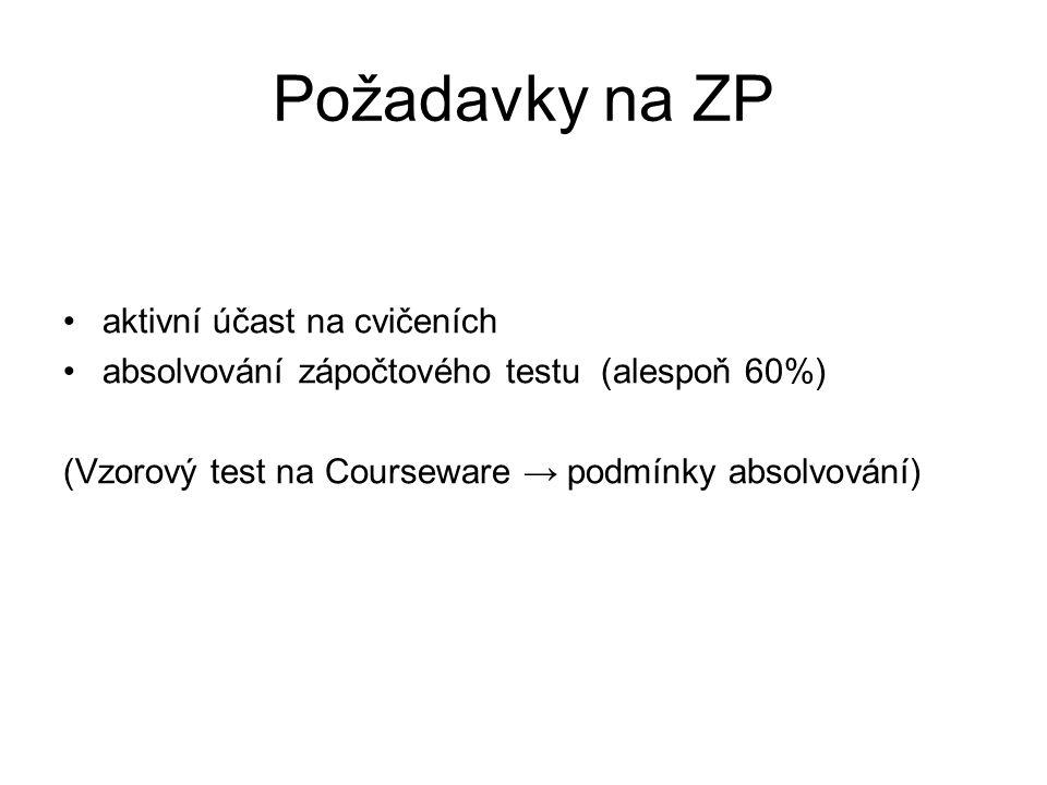 Požadavky na ZP aktivní účast na cvičeních absolvování zápočtového testu (alespoň 60%) (Vzorový test na Courseware → podmínky absolvování)