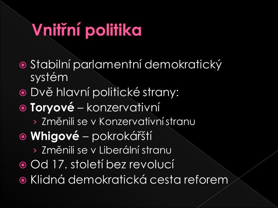  Stabilní parlamentní demokratický systém  Dvě hlavní politické strany:  Toryové – konzervativní › Změnili se v Konzervativní stranu  Whigové – pokrokářští › Změnili se v Liberální stranu  Od 17.