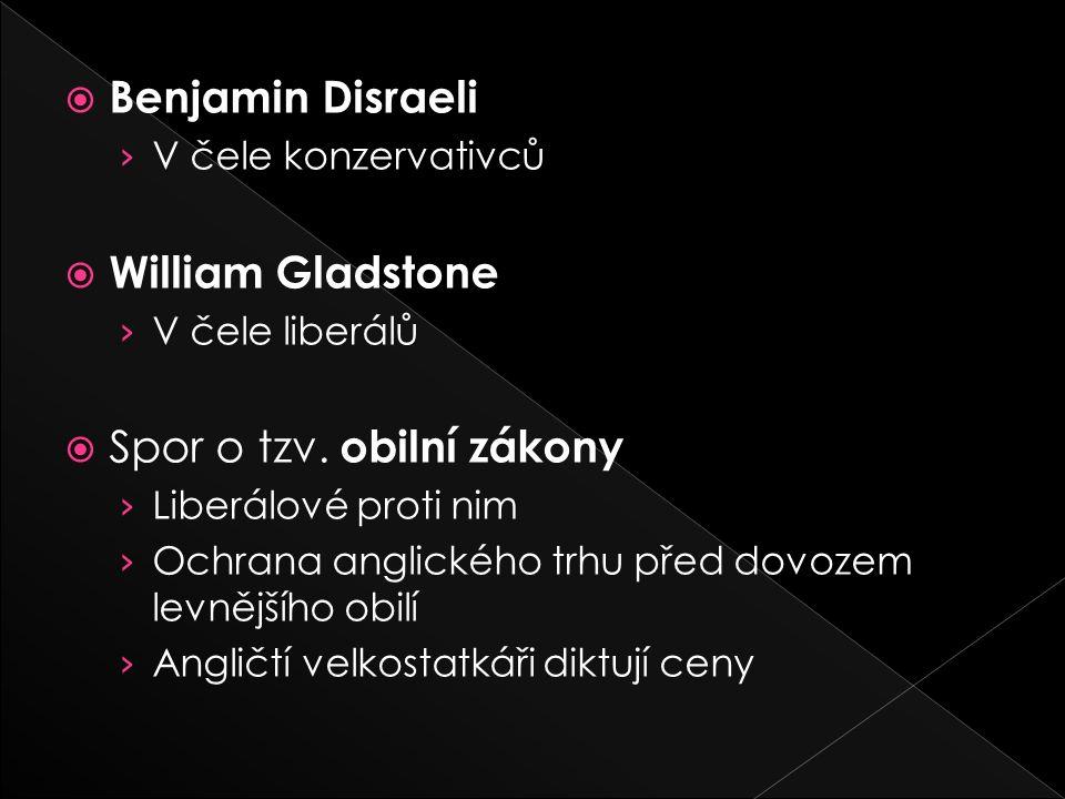  Benjamin Disraeli › V čele konzervativců  William Gladstone › V čele liberálů  Spor o tzv.