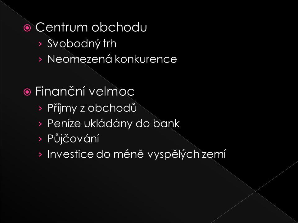  Centrum obchodu › Svobodný trh › Neomezená konkurence  Finanční velmoc › Příjmy z obchodů › Peníze ukládány do bank › Půjčování › Investice do méně vyspělých zemí