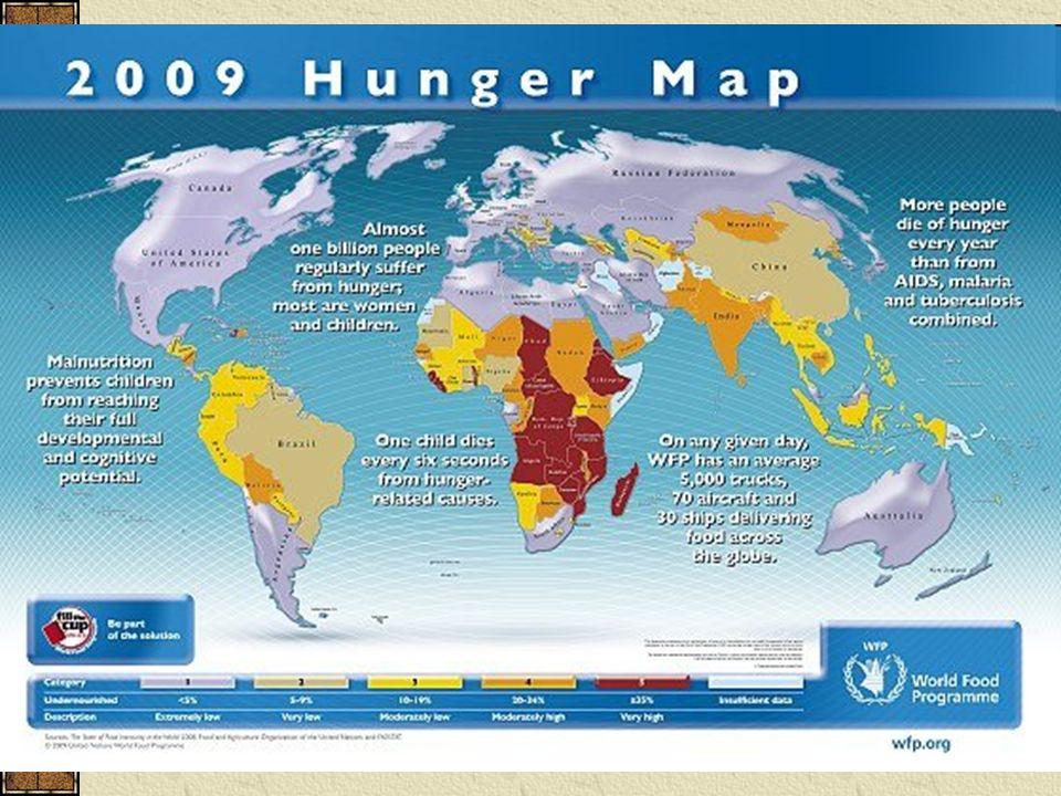 Problémy, příčiny, důsledky vysoký přirozený přírůstek vede k nedostatku potravin většina obyvatelstva je zaměstnána v zemědělství – při špatné úrodě (sucho) → hlad v rozvojových zemích často dominuje jedna plodina – strava je jednotvárná – kakao, rýže problém hladu bezpochyby souvisí s celkovou zaostalostí rozvojového světa příčinu můžeme hledat také ve stále menším množství obdělávané půdy – postup pouští a polopouští neracionální využívání půdních i vodních zdrojů, živelné pohromy, konflikty, zbrojení