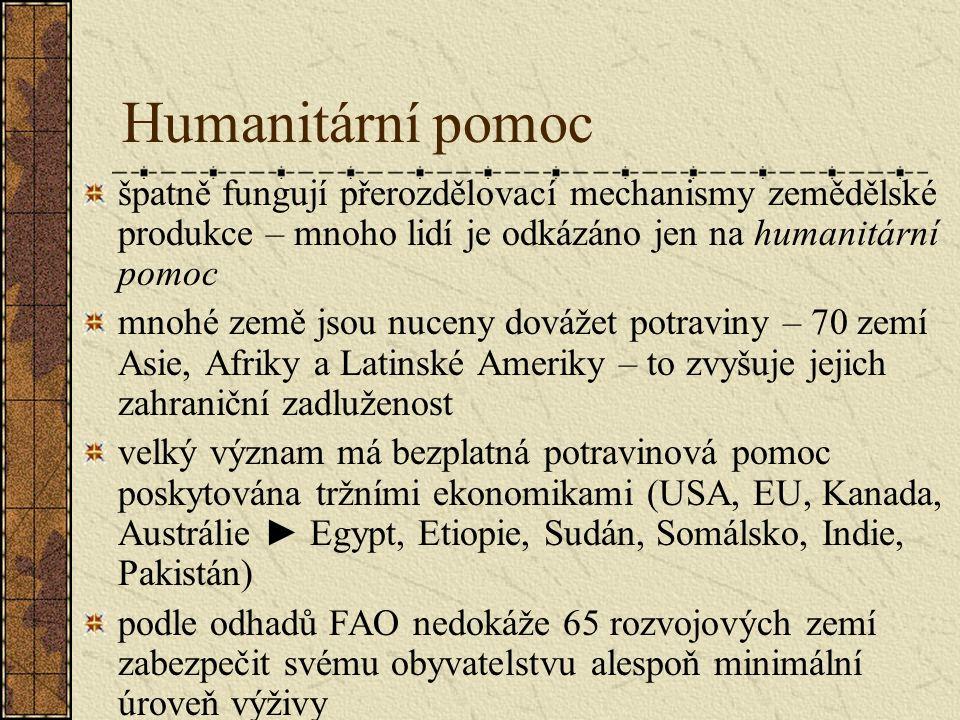 Humanitární pomoc špatně fungují přerozdělovací mechanismy zemědělské produkce – mnoho lidí je odkázáno jen na humanitární pomoc mnohé země jsou nucen