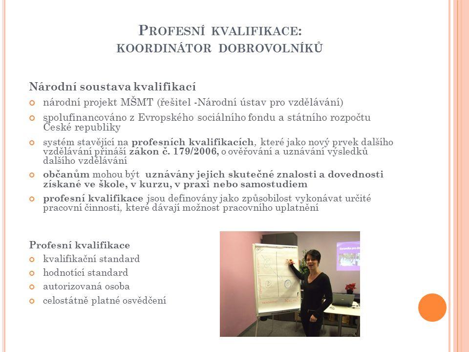 P ROFESNÍ KVALIFIKACE : KOORDINÁTOR DOBROVOLNÍKŮ Národní soustava kvalifikací národní projekt MŠMT (řešitel -Národní ústav pro vzdělávání) spolufinancováno z Evropského sociálního fondu a státního rozpočtu České republiky systém stavějící na profesních kvalifikacích, které jako nový prvek dalšího vzdělávání přináší zákon č.