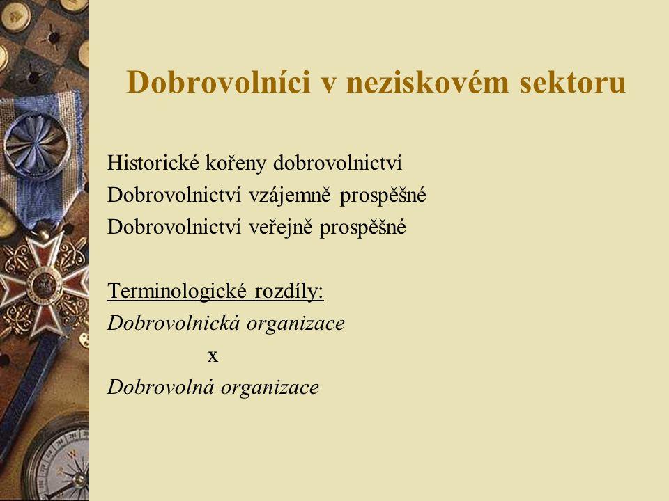 Dobrovolníci v neziskovém sektoru Historické kořeny dobrovolnictví Dobrovolnictví vzájemně prospěšné Dobrovolnictví veřejně prospěšné Terminologické rozdíly: Dobrovolnická organizace x Dobrovolná organizace
