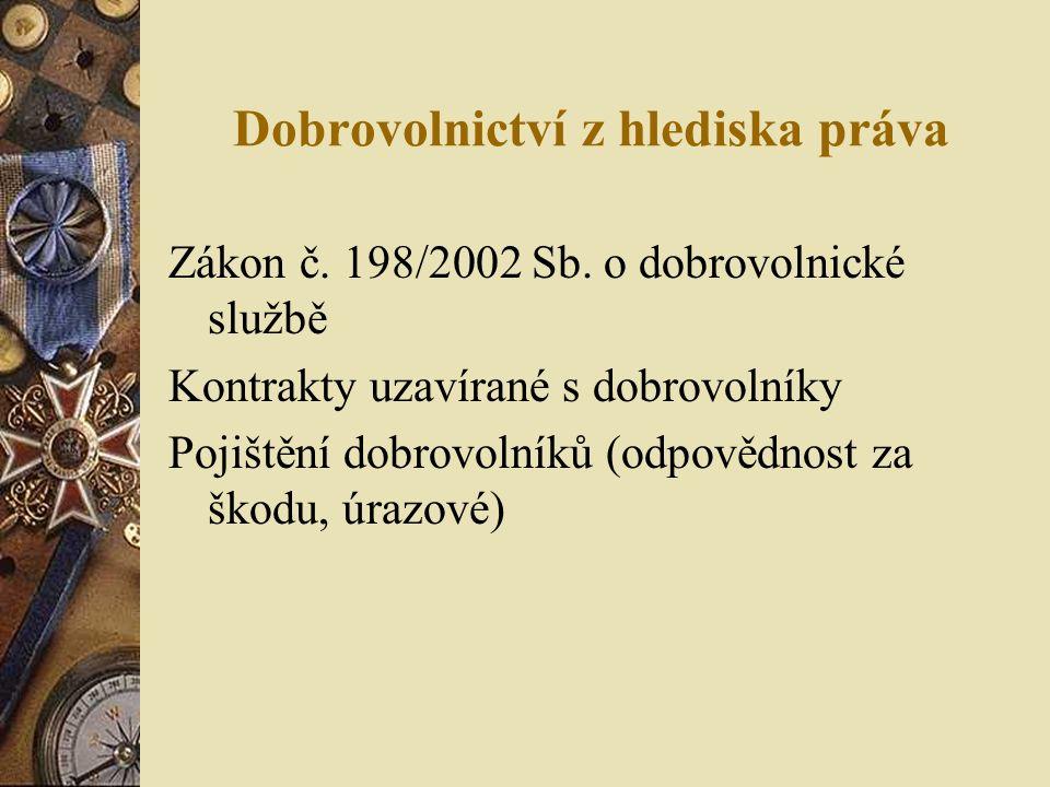 Dobrovolnictví z hlediska práva Zákon č. 198/2002 Sb.