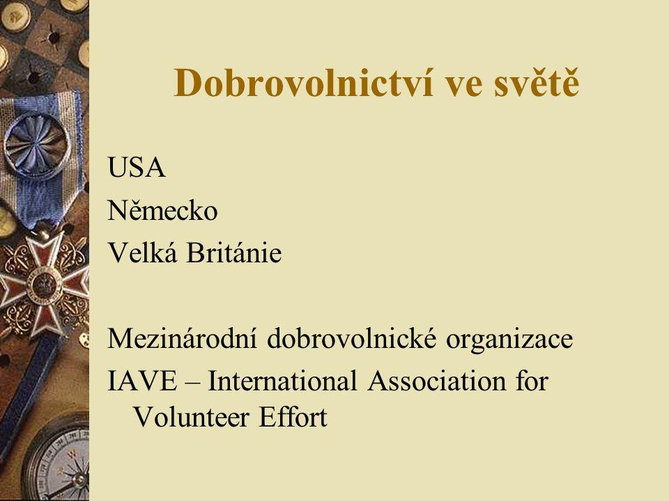 Dobrovolnictví ve světě USA Německo Velká Británie Mezinárodní dobrovolnické organizace IAVE – International Association for Volunteer Effort