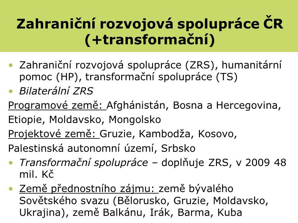 Zahraniční rozvojová spolupráce (ZRS), humanitární pomoc (HP), transformační spolupráce (TS) Bilaterální ZRS Programové země: Afghánistán, Bosna a Hercegovina, Etiopie, Moldavsko, Mongolsko Projektové země: Gruzie, Kambodža, Kosovo, Palestinská autonomní území, Srbsko Transformační spolupráce – doplňuje ZRS, v 2009 48 mil.