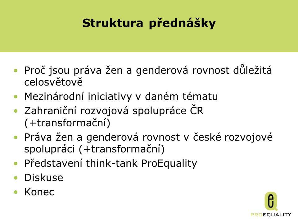 Proč jsou práva žen a genderová rovnost důležitá celosvětově Mezinárodní iniciativy v daném tématu Zahraniční rozvojová spolupráce ČR (+transformační) Práva žen a genderová rovnost v české rozvojové spolupráci (+transformační) Představení think-tank ProEquality Diskuse Konec Struktura přednášky