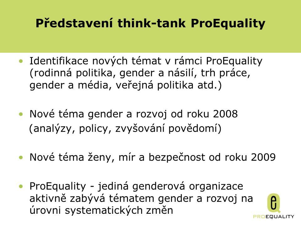 Identifikace nových témat v rámci ProEquality (rodinná politika, gender a násilí, trh práce, gender a média, veřejná politika atd.) Nové téma gender a rozvoj od roku 2008 (analýzy, policy, zvyšování povědomí) Nové téma ženy, mír a bezpečnost od roku 2009 ProEquality - jediná genderová organizace aktivně zabývá tématem gender a rozvoj na úrovni systematických změn