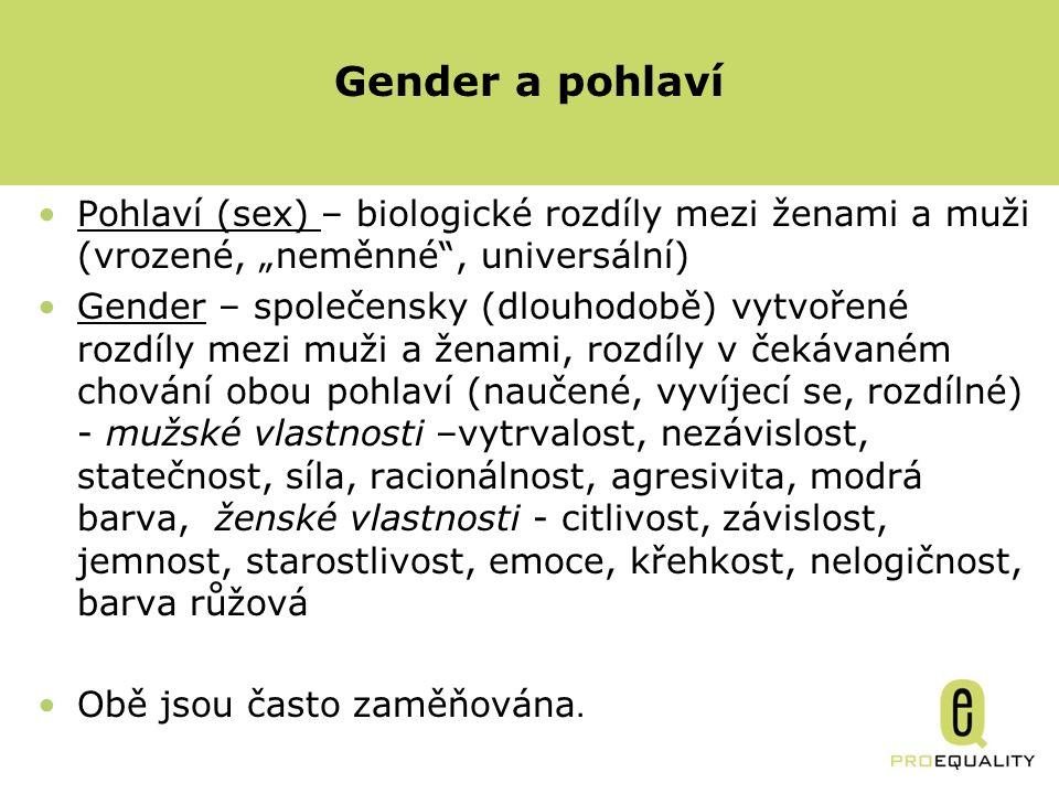 """Gender a pohlaví Pohlaví (sex) – biologické rozdíly mezi ženami a muži (vrozené, """"neměnné , universální) Gender – společensky (dlouhodobě) vytvořené rozdíly mezi muži a ženami, rozdíly v čekávaném chování obou pohlaví (naučené, vyvíjecí se, rozdílné) - mužské vlastnosti –vytrvalost, nezávislost, statečnost, síla, racionálnost, agresivita, modrá barva, ženské vlastnosti - citlivost, závislost, jemnost, starostlivost, emoce, křehkost, nelogičnost, barva růžová Obě jsou často zaměňována."""