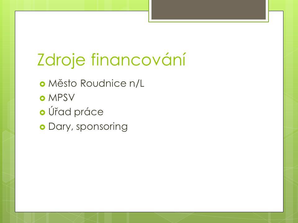 Zdroje financování  Město Roudnice n/L  MPSV  Úřad práce  Dary, sponsoring