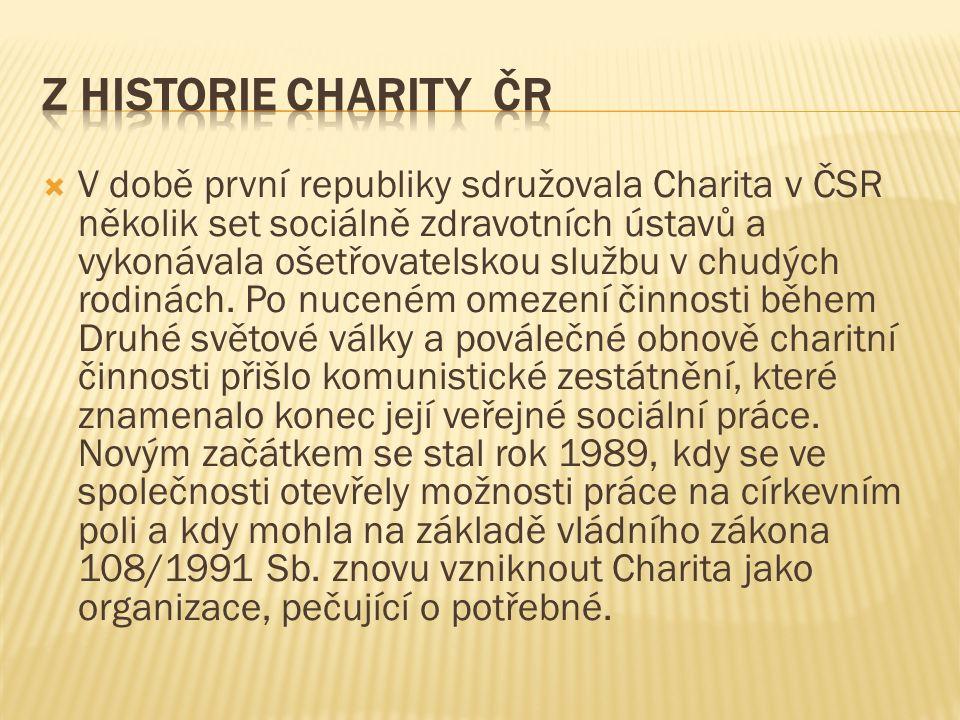  V době první republiky sdružovala Charita v ČSR několik set sociálně zdravotních ústavů a vykonávala ošetřovatelskou službu v chudých rodinách.