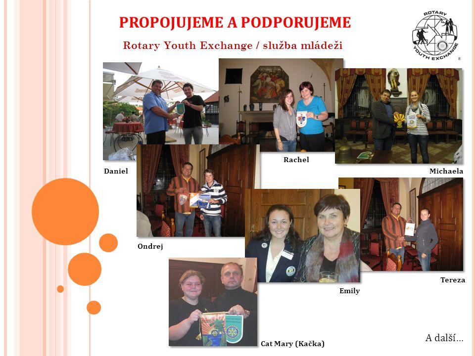 Rotary Youth Exchange / služba mládeži Daniel Rachel Michaela Ondrej A další… PROPOJUJEME A PODPORUJEME Tereza Emily Cat Mary (Kačka)