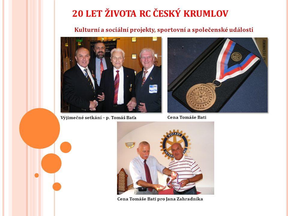 Kulturní a sociální projekty, sportovní a společenské události 20 LET ŽIVOTA RC ČESKÝ KRUMLOV Cena Tomáše Bati Výjimečné setkání – p.
