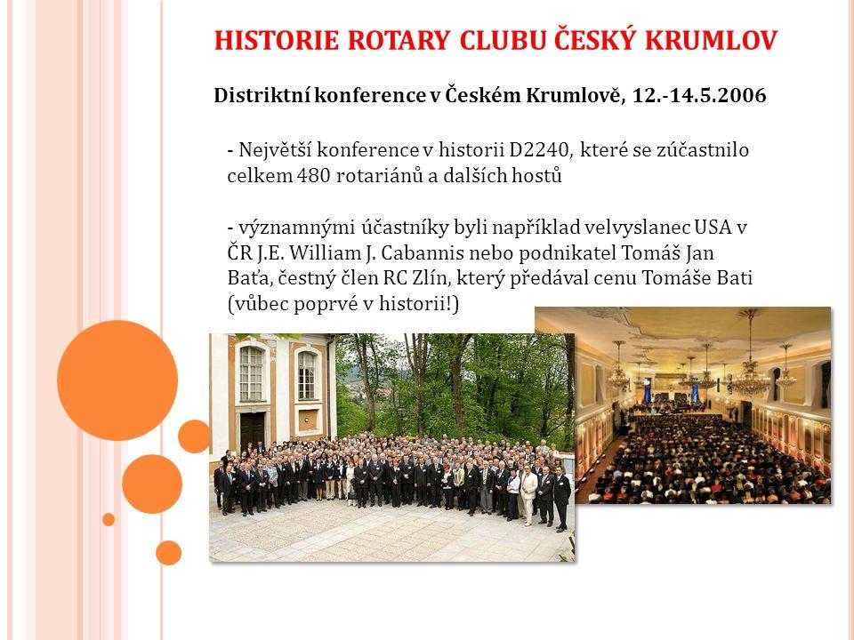 HISTORIE ROTARY CLUBU ČESKÝ KRUMLOV Distriktní konference v Českém Krumlově, 12.-14.5.2006 - Největší konference v historii D2240, které se zúčastnilo celkem 480 rotariánů a dalších hostů - významnými účastníky byli například velvyslanec USA v ČR J.E.