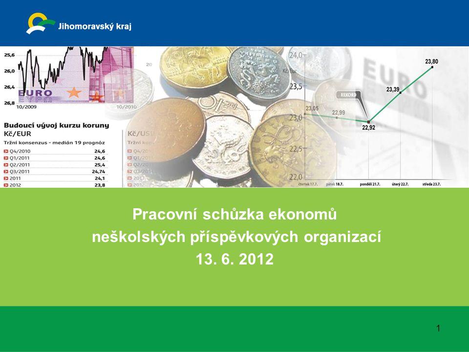 Pracovní schůzka ekonomů neškolských příspěvkových organizací 13. 6. 2012 1