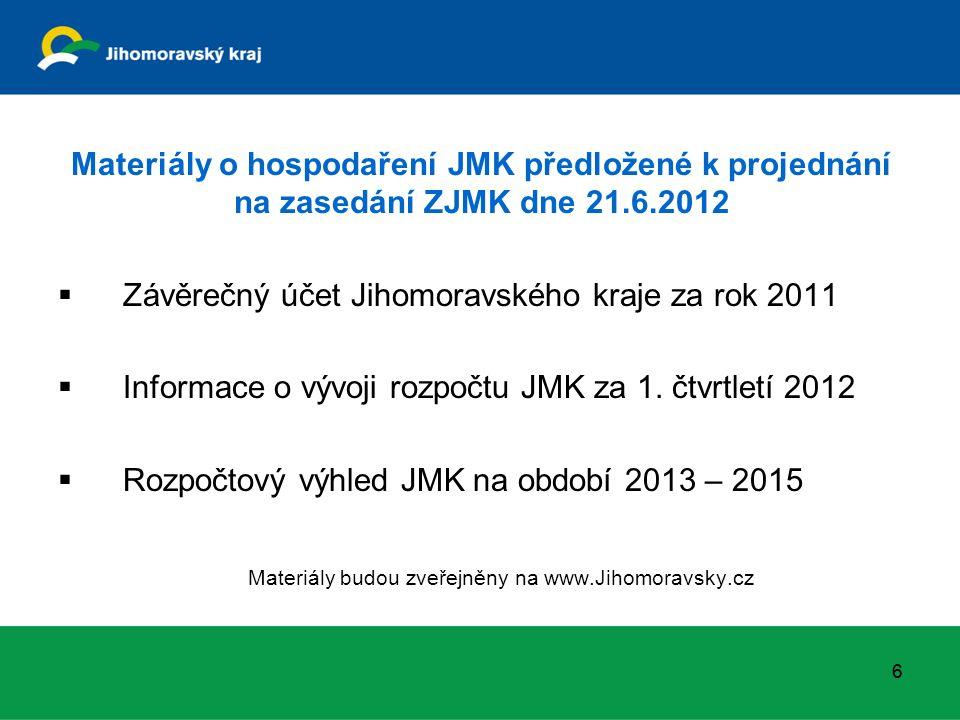 Materiály o hospodaření JMK předložené k projednání na zasedání ZJMK dne 21.6.2012  Závěrečný účet Jihomoravského kraje za rok 2011  Informace o vývoji rozpočtu JMK za 1.