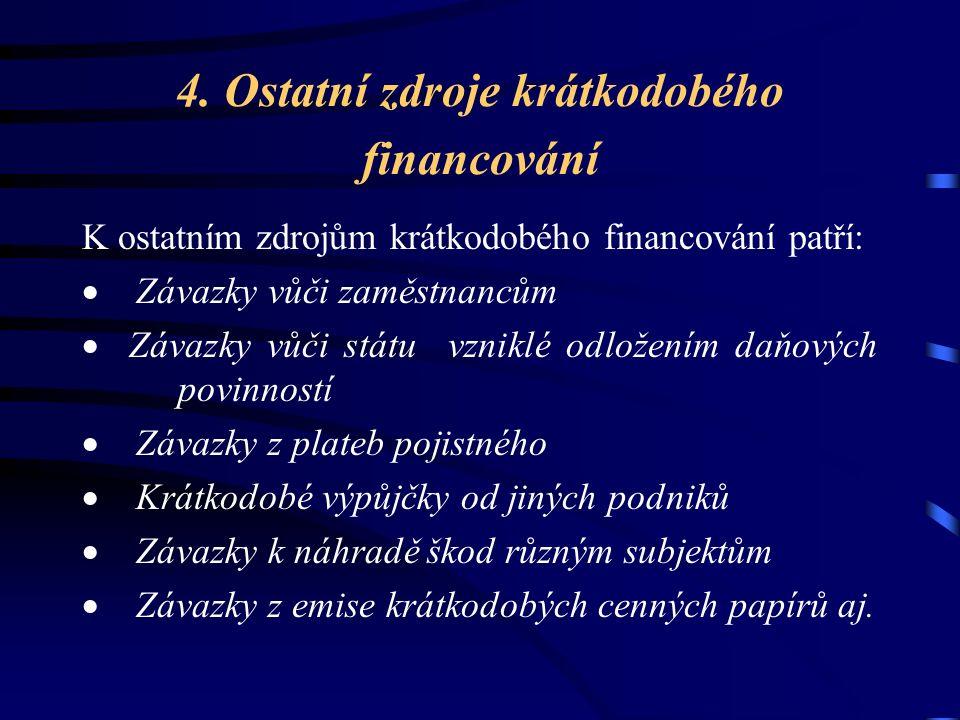 4. Ostatní zdroje krátkodobého financování K ostatním zdrojům krátkodobého financování patří:  Závazky vůči zaměstnancům  Závazky vůči státu vzniklé