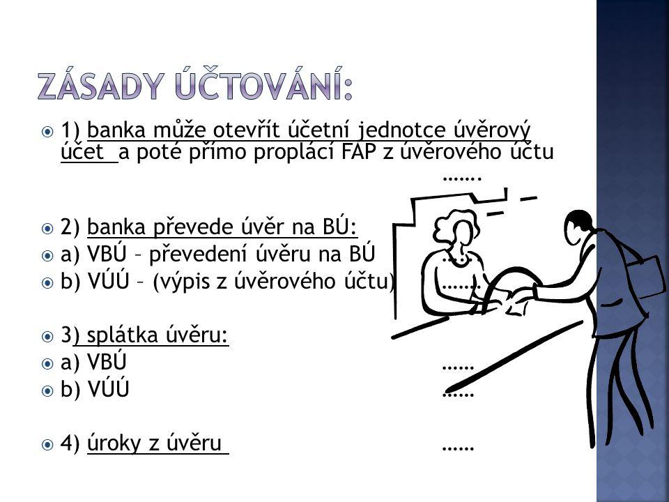  1) banka může otevřít účetní jednotce úvěrový účet a poté přímo proplácí FAP z úvěrového účtu …….  2) banka převede úvěr na BÚ:  a) VBÚ – převeden