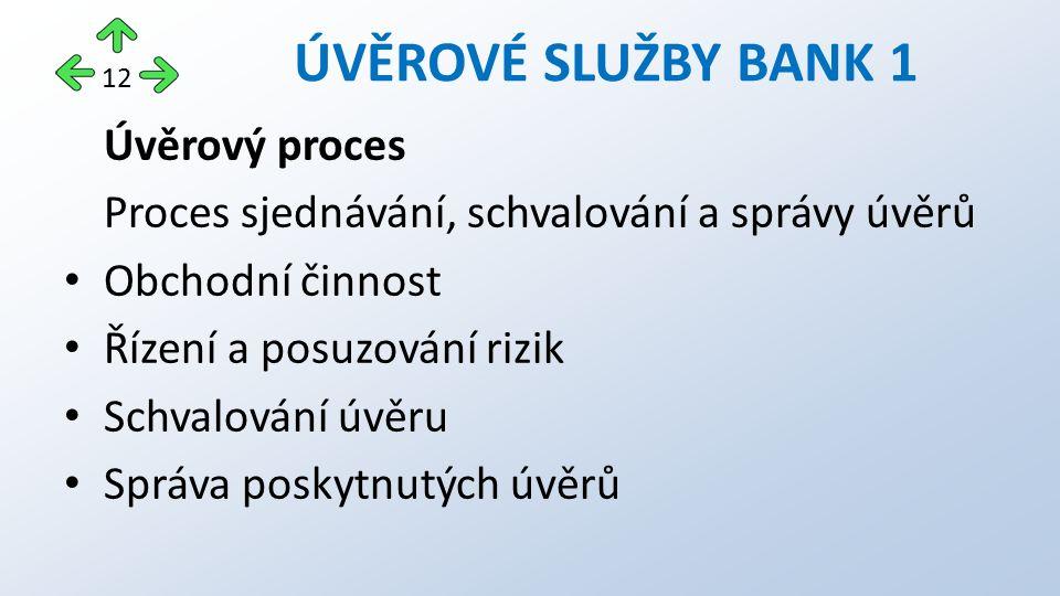 Úvěrový proces Proces sjednávání, schvalování a správy úvěrů Obchodní činnost Řízení a posuzování rizik Schvalování úvěru Správa poskytnutých úvěrů ÚVĚROVÉ SLUŽBY BANK 1 12