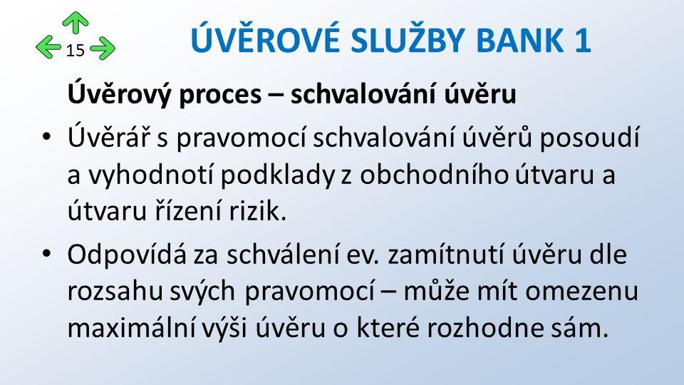 Úvěrový proces – schvalování úvěru Úvěrář s pravomocí schvalování úvěrů posoudí a vyhodnotí podklady z obchodního útvaru a útvaru řízení rizik.