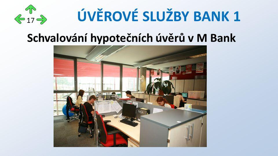 Schvalování hypotečních úvěrů v M Bank ÚVĚROVÉ SLUŽBY BANK 1 17