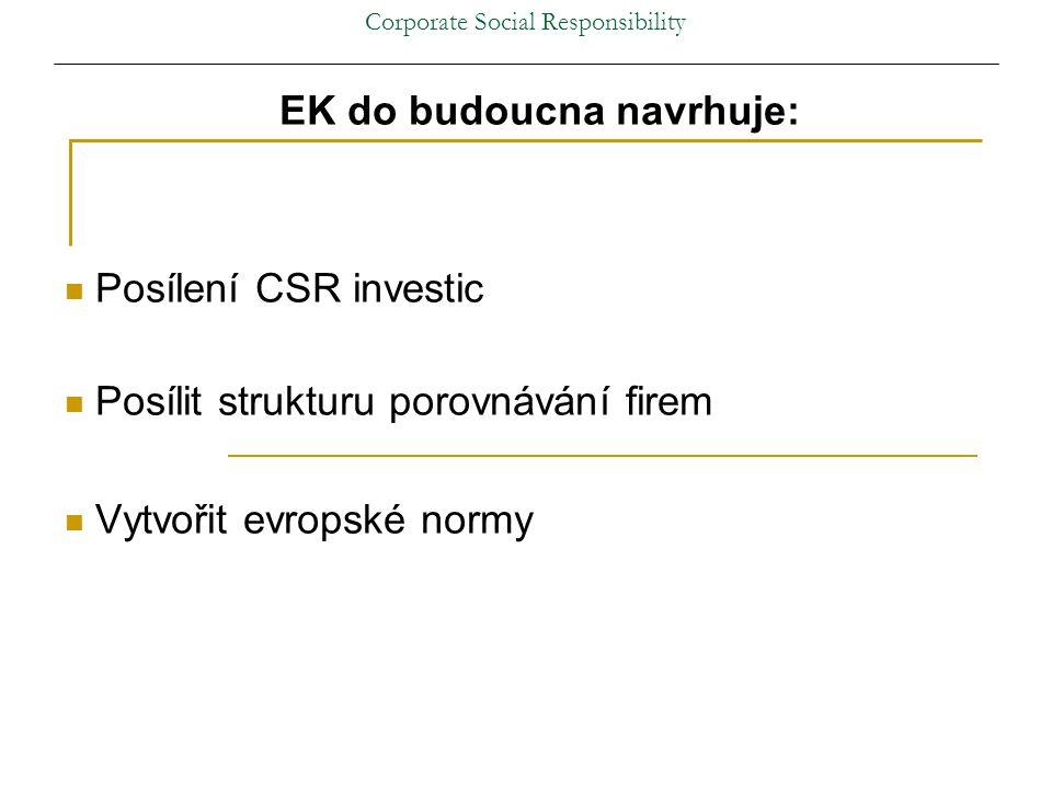 Corporate Social Responsibility EK do budoucna navrhuje: Posílení CSR investic Posílit strukturu porovnávání firem Vytvořit evropské normy