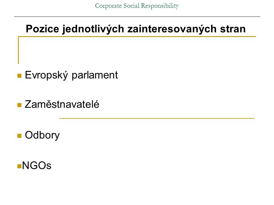 Corporate Social Responsibility Pozice jednotlivých zainteresovaných stran Evropský parlament Zaměstnavatelé Odbory NGOs