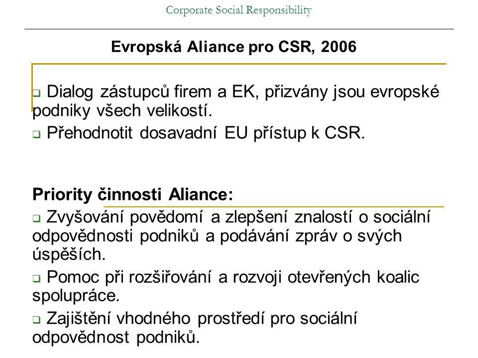 Corporate Social Responsibility Evropská Aliance pro CSR, 2006  Dialog zástupců firem a EK, přizvány jsou evropské podniky všech velikostí.