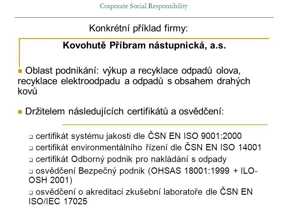 Corporate Social Responsibility Konkrétní příklad firmy: Kovohutě Příbram nástupnická, a.s.
