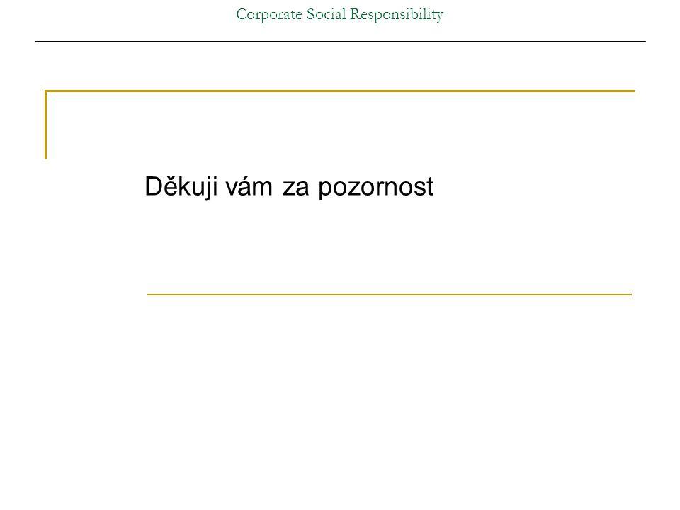 Corporate Social Responsibility Děkuji vám za pozornost