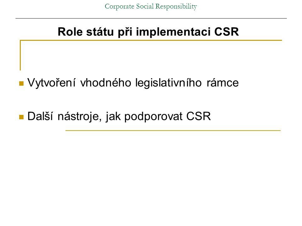 Corporate Social Responsibility Role státu při implementaci CSR Vytvoření vhodného legislativního rámce Další nástroje, jak podporovat CSR
